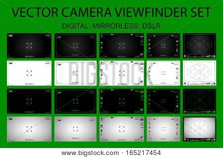 Modern camera focusing screen with settings 20 in 1 pack - digital mirorless DSLR. White black and green viewfinders camera recording. Vector illustration