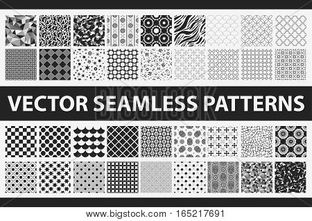 Retro Styled Vector Seamless Pattern Pack: Abstract, Vintage, Technology And Geometric. 36 Black And