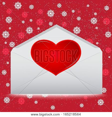 Red Heart on envelope with snow on red background.