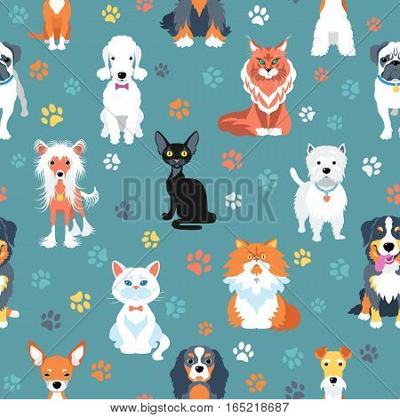 Vector seamless background with cats and dogs flat design