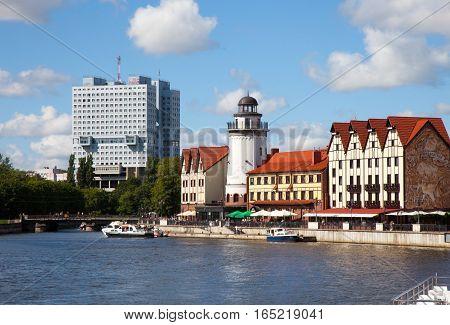 View Of The Rybnaya Derevnya. Kaliningrad, Russia.