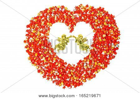 red star paper heart shape on white background with angel with clipping path