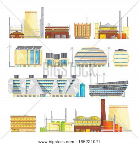 Eco friendly industrial facilities sustainable waste disposal with converting it into energy flat icons collection isolated vector illustration