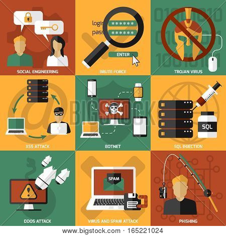 Nine square hackers compositions set with pictograms about various kinds of electronic viral infection and attacks vector illustration