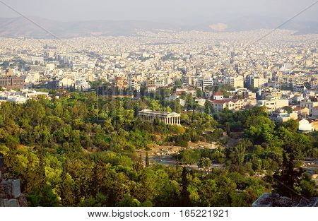 Hephaestus palace and Athens skyline view from Acropolis Greece