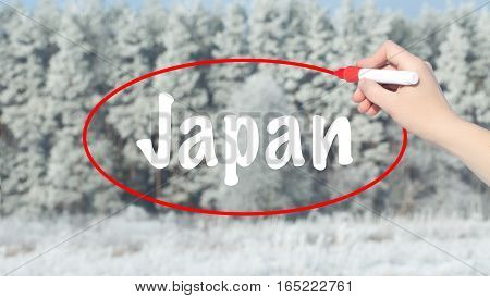 Woman Hand Writing Japan With A Marker Over Winter Forest.