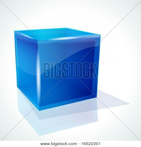 Vector blue cube on white background