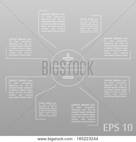 Infographics template, plus, minus, positive and negative. Gray background.