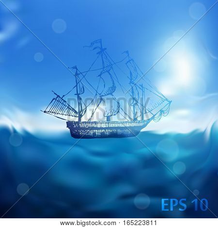 Hand drawn doodle ship. Travel, sea, ocean, pirate. Blue blurred background