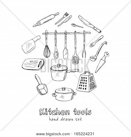 Doodle Kitchen tool collection - vector isolated illustration