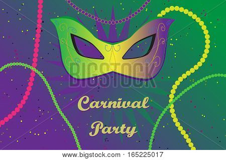 Picture ready for use in carnival thematic. Mask and of colour necklace with confetti