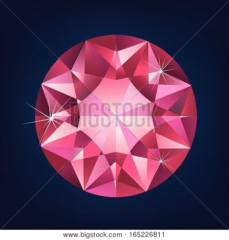 Brilliant shiny ruby on grey background. vector