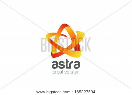 Star Logo design vector template ribbon icon.