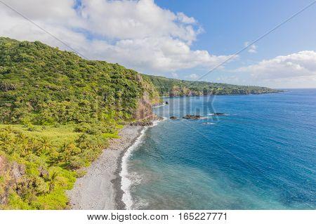the scenic landscape of the Maui coast near Hana