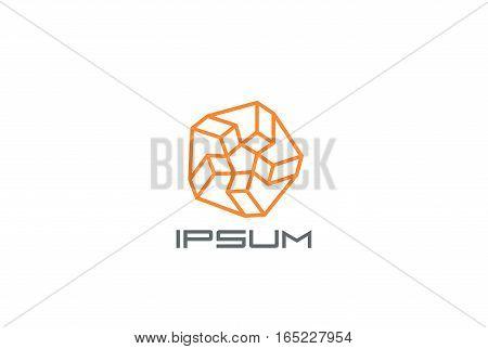 Star Abstract Logo design vector template. Linear Logotype concept.