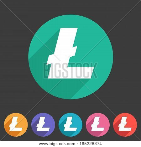 Litecoin cryptocurrency icon flat web sign symbol logo label set