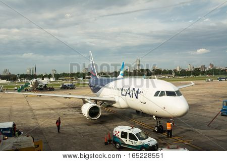 Buenos Aires Argenitna - October 31 2016: line airplane of LAN company parked for refueling and preparations before departure