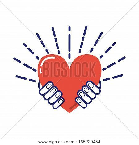Heart in hand vector emotion feeling creativity person. Romance shape sign isolated body part concept. Adult happiness healthy care symbol illustration.