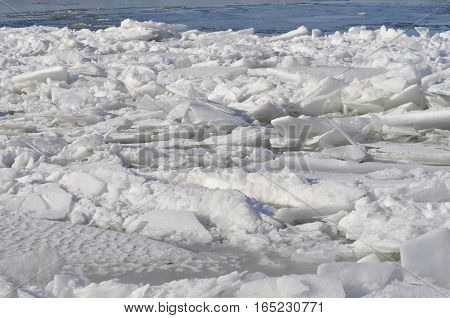 Ice sheets float on the river Danube