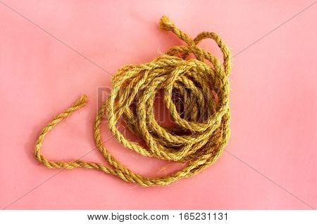 Unwound the rope lies on the table top view