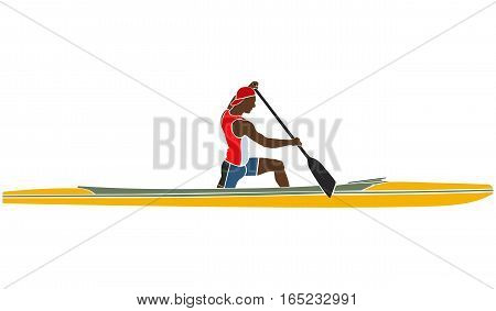 coloured silhouette male athlete sports canoe with paddle