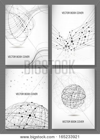 Vector set of four templates for the book cover size A4. Modern composition of intersecting curve lines with the points. Theme of technology data transmission physics.