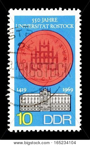EAST GERMANY - CIRCA 1969 : Cancelled postage stamp printed by East Germany, that shows University Rostock.