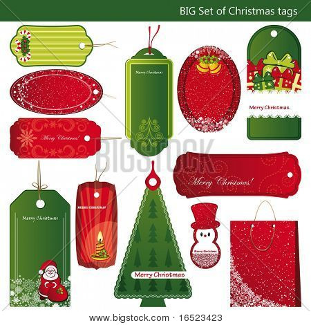 Twelve Sets of Christmas tags.
