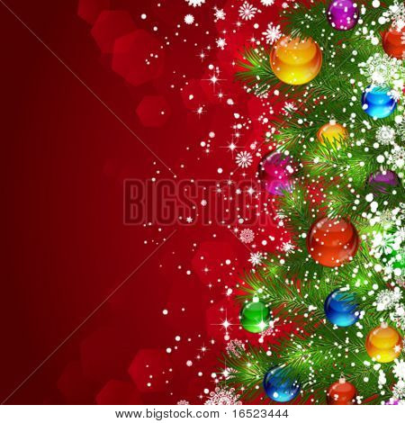 Christmas background with snow-covered Christmas tree decorated with glass balloons
