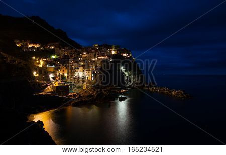 Village in Cinque Terre, Italy, during night time
