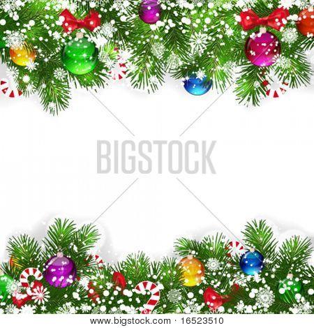 Fondo de Navidad con decoración ramas de árbol de Navidad.