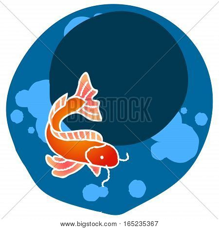 Chinese New Year, 2017. Hand drawn sketchy cartoon clip-art in circle, vector illustration. Template for greeting card, certificate, poster or gift package. Carp fish