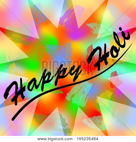 Happy holi colorful grunge background with inscription Happy holi, wild colorful splashes in semitransparent star shape, Vector eps10