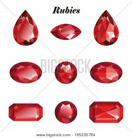 Rubies set. Isolated objects on a white background vector illustration