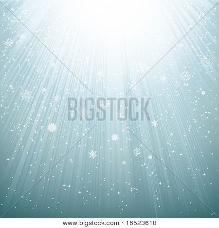 Snow and stars are falling on the background