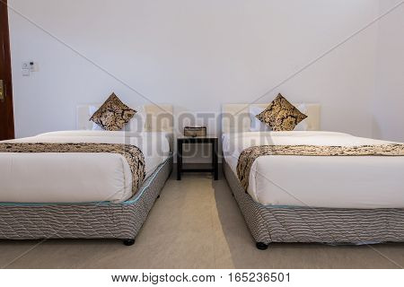 interior of hotel room - two bed room.