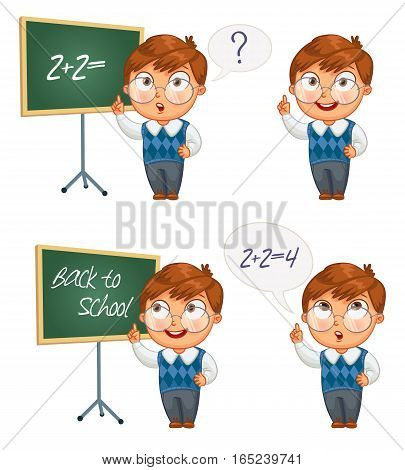 Back to school. Schoolboy writing on the chalkboard. Boy solves equations on blackboard. Funny cartoon character. Vector illustration. Isolated on white background. Set