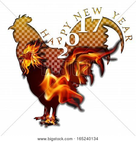 Isolated object on a white background with a stencil fire a rooster and the words Happy New Year.