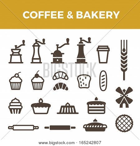 Coffee Bakery icons set for Badges hipster style. Coffee Mill cup spike bread cake croissant objects symbols
