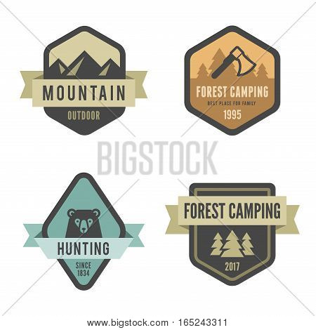 Travel Tourism Logo Badges design vector template Hipster Vintage style. Hiking Trekking Mountains Forest Camping Hunting logotypes.