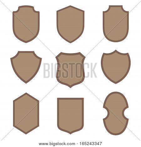 Shields vector design elements medieval collection for badge logo emblem.