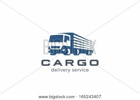Truck Delivery Cargo Logo design vector template. Lorry Auto car vehicle logotype silhouette. Negative space style icon.