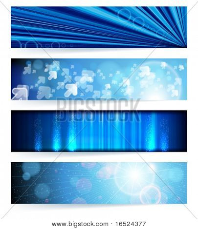 Vector set of abstract banners. Blue Design. EPS10 Vector Background.