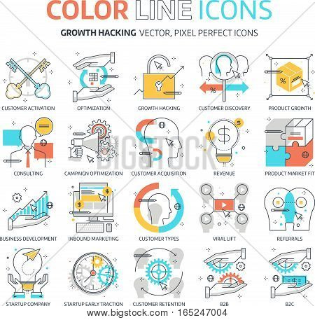 Color Line, Growth Hacking Illustrations, Icons