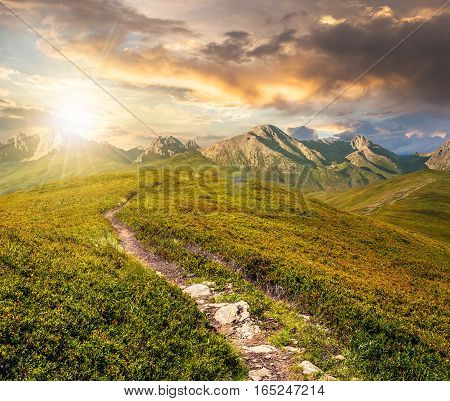 composite summer landscape in High Tatra Mountains at sunset. path through the ridge to the top peak