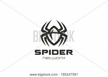 Spider Logo design vector template. Dangerous Poison Virus technology Bugs logotype concept symbol icon.