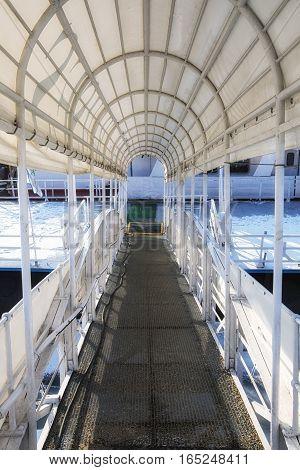 Boat hallway of steel frames angle shot