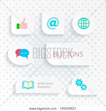 Modern vector white web buttons with simple icons