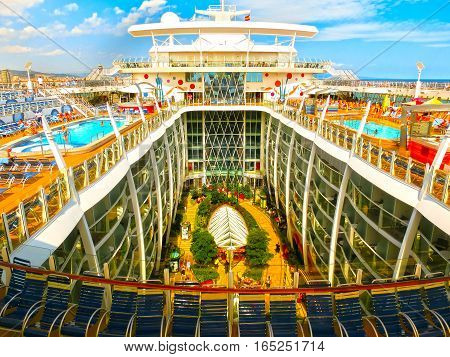 BARCELONA, SPAIN - SEPTEMBER 06, 2015: The Allure of the Seas by Royal Caribbean sailing from Barcelona on September 6, 2015.