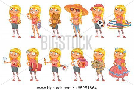 Baby girl stands in similar pose and holds a various objects. Set of different elements for design work and animation. Funny cartoon character. Vector illustration. Isolated on white background
